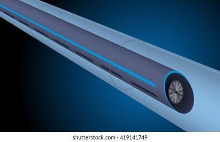 futuristic transportation system (train running through the tube) image illustration