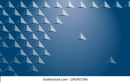 Futuristic triangle background, simply triangle 3d paper, blue color gradient, vector-Vector