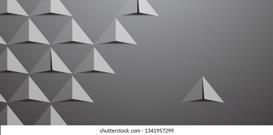 Futuristic triangle background, simply triangle 3d paper, color gradient, vector-Vector