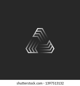 Futuristic triangle shape logo, creative gradient geometric frame construction for t-shirt print emblem, cyber tech icon or sticker