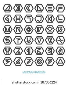 Futuristic unreadable alphabet. Bold font. Vector graphics set. Logo template.