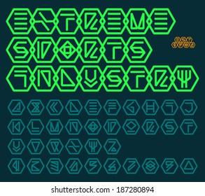 Futuristic unreadable alphabet. Thin font. Vector graphics. Logo template.