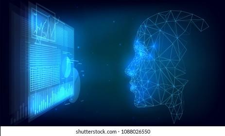 Futuristic user analyzes infographics, online trading, e-commerce, hologram, user interface, internet