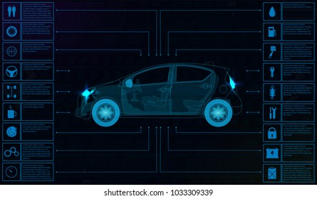 Futuristic user interface. Car service in the style of HUD. Virtual graphical interface Ui HUD Autoscanning, analysis and diagnostics, Abstract vector science. Car auto service infographics.repair