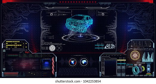 Futuristic user interface. Car service in the style of HUD. Virtual graphical interface Ui HUD Autoscanning, analysis and diagnostics, Abstract vector science. Car auto service infographics