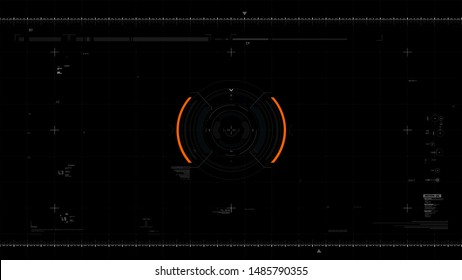 Futuristic user interface design element text box scale and bar for video overlay cyber and technology concept against dark background wide screen ratio vector illustration