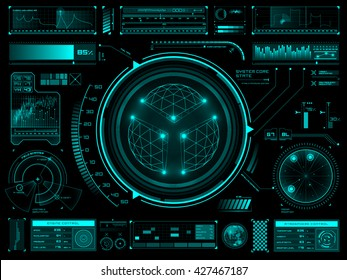 Futuristic user interface HUD tech elements for game creation or footage overlay. Sci-fi vector design set