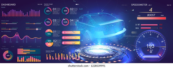 Futuristic user interface. HUD UI. Abstract virtual graphic touch user interface. Car service in the style of HUD. Virtual graphical interface Ui HUD Auto scann. Cars diagnostic. Vector illustration