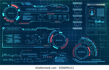 Futuristic User Interface. Virtual Graphic Touch UI for VR. HUD Infographic Elements for Motion Design - Illustration Vector