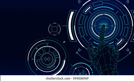 Futuristic vector background, hud technology touch screen interface