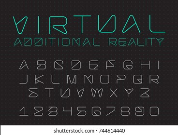 Futuristic vector Font design. Digital Virtual Reality Technology typeface. Letters and Numbers for Computers, Drone Robot Hi-tech themes.
