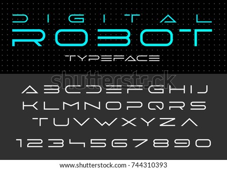 Futuristic Vector Font Design Digital Virtual Stock Vektorgrafik