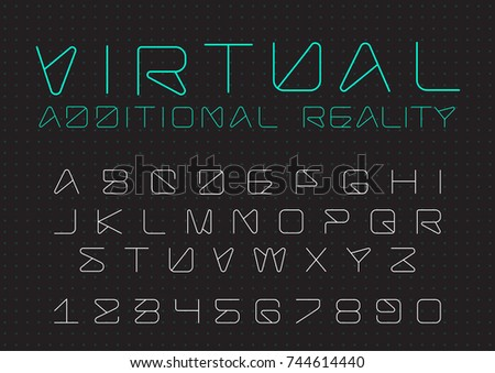 Futuristic Vector Font Design Digital Virtual Stock Vector Royalty