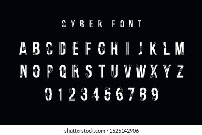 Futuristic vector Font design. Letters and Numbers for web and app. Techno type font alphabet. Digital hi-tech style symbols.