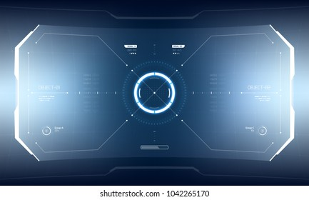 Futuristic Vector HUD Interface Screen Design. Sci-Fi Virtual Reality Technology View Display