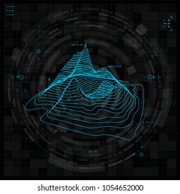 Futuristic vector hud interface screen design. Abstract template on blue backdrop.
