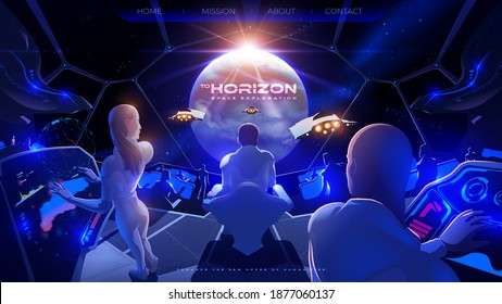 futuristic vector illustration for a landing page of the commander room inside the colony spaceship with the other space fleets have just arrived successfully at the exoplanetary destination
