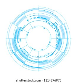 Futuristic vector interface on white background. Techno vector illustration. User round circles funnel isolated om white surface for web or print design