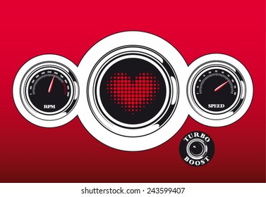 Futuristic vector love dashboard with heart speed and rpm meter