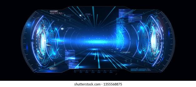 Futuristic Vector VR Head-up Display HUD UI GUI Interface Screen Design. Virtual reality. Digital user interface. Vr headset. VR glasses. Vector illustration gui. Mobile app. Dashboard Sci-Fi Helmet.