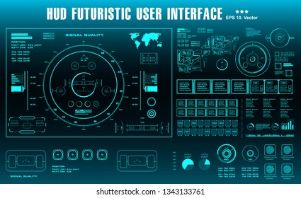 Futuristic virtual graphic touch user interface, HUD dashboard display virtual reality technology screen