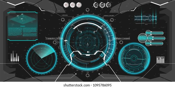 Futuristic VR Head-up Display Design. Future Technology Display Design. Vitrual Reality in HUD UI style. View from the cockpit spaceship. Technology elements, dashboard, radar, aim in HUD UI sty