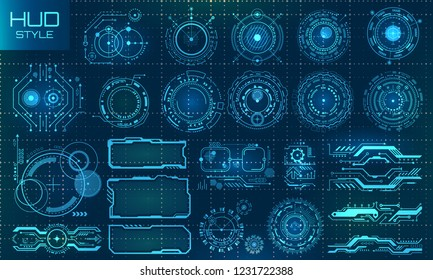 Futuristic VR Head-up Display Design. Technology Set Elements - Illustration Vector