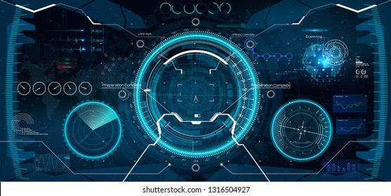 Futuristic VR Head-up Display Design. Future Technology Display Design. Vitrual Reality in HUD UI style. View from the cockpit spaceship. Technology elements, dashboard, radar, aim in HUD UI style