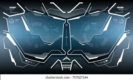Futuristic VR Head-up Display Design.  Sci-Fi Helmet Hud