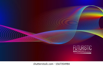 Futuristic waves background design. Cyberspace style banner template.