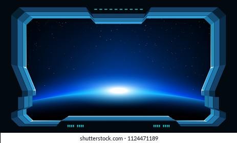 futuristic window planet view