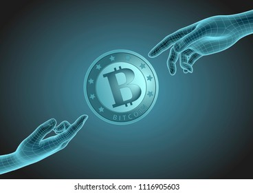 futuristic wireframe human hands pointing to one bitcoin coin with index finger. Modern cryptocurrency, blockchain technology and payment system. Vector illustration