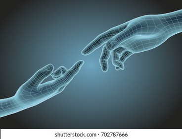 futuristic wireframe human hands pointing one each other with index finger. Modern science, technology and creationism metaphoric concept. Vector illustration