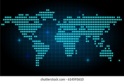 Futuristic world map made with dots, with spot lights on dark background