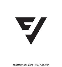 FV letter, FJ letter, CJ letter logo vector