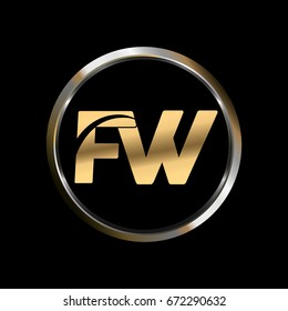 FW initial letter logo inside circle shape, FW inside o rounded lowercase logo gold silver