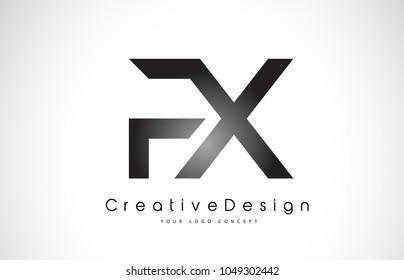 FX F X Letter Logo Design in Black Colors. Creative Modern Letters Vector Icon Logo Illustration.