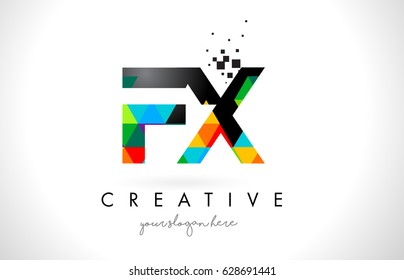 FX F X Letter Logo with Colorful Vivid Triangles Texture Design Vector Illustration.