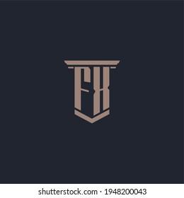 FX initial monogram logo with pillar style design
