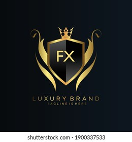 FX Letter Initial with Royal Template.elegant with crown logo vector, Creative Lettering Logo Vector Illustration.