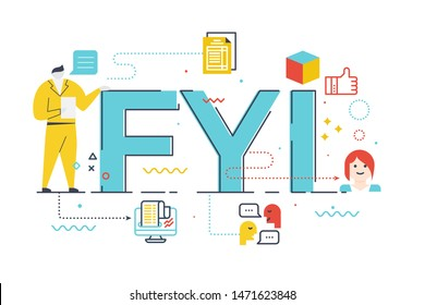 FYI (for your information) word lettering illustration with icons for web banner, flyer, landing page, presentation, book cover, article, etc.