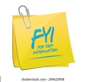 fyi for your information memo illustration design over a white background