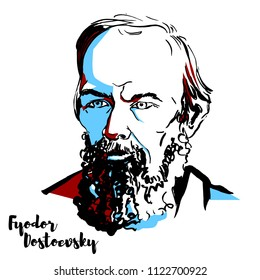 Fyodor Dostoevsky engraved vector portrait with ink contours. Russian novelist, short story writer, essayist, journalist and philosopher.