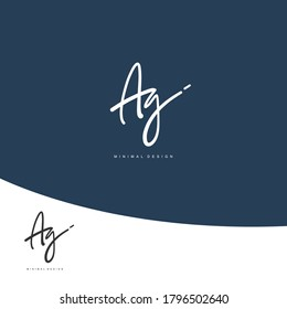 A G AG Initial handwriting or handwritten logo for identity. Logo with signature and hand drawn style.
