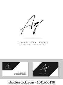 A G AG initial logo signature template vector. Handwriting concept logo.