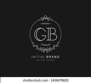 G B GB Beauty vector initial logo, handwriting logo of initial signature, wedding, fashion, jewerly, boutique, floral and botanical with creative template for any company or business.