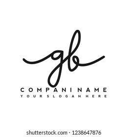 G B Initial handwriting logo vector