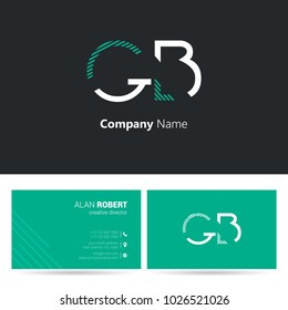 G & B stroke letter logo with business card template