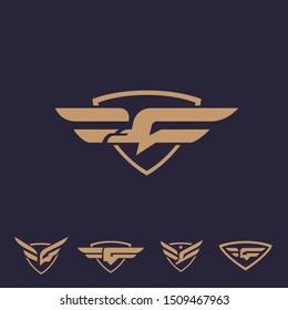 G bird as Gryphon logo set. letter based, bird theme. vector