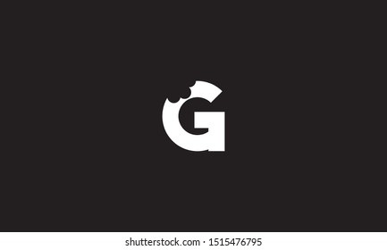 G bite letter logo. Unique attractive creative modern initial G logo with bites shape design